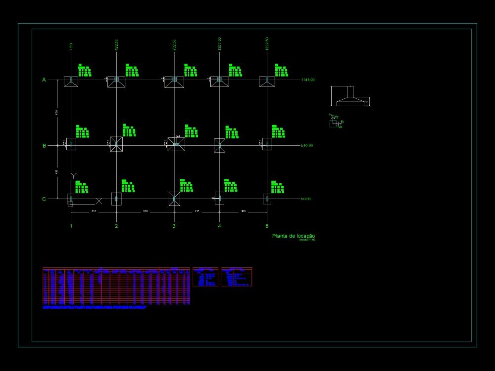 Plano de planta de diseño estructural completo