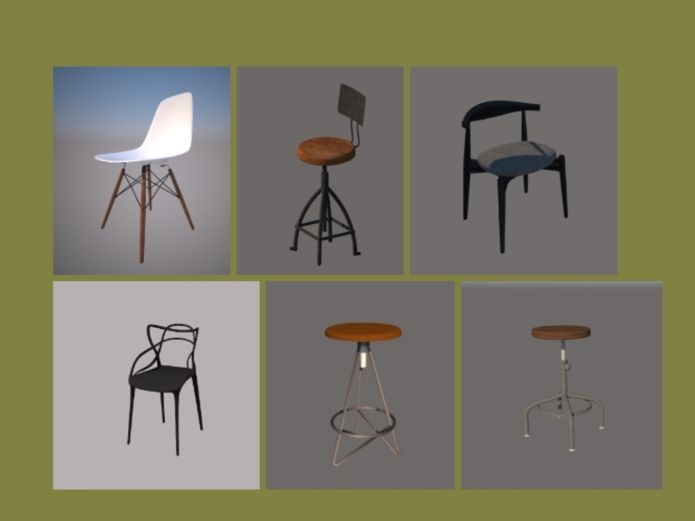 Bar chair sketchup modeling