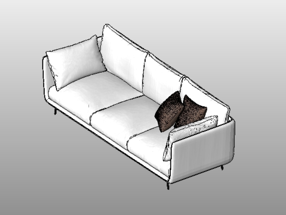 3section sofa revit in rfa  cad download 295 mb