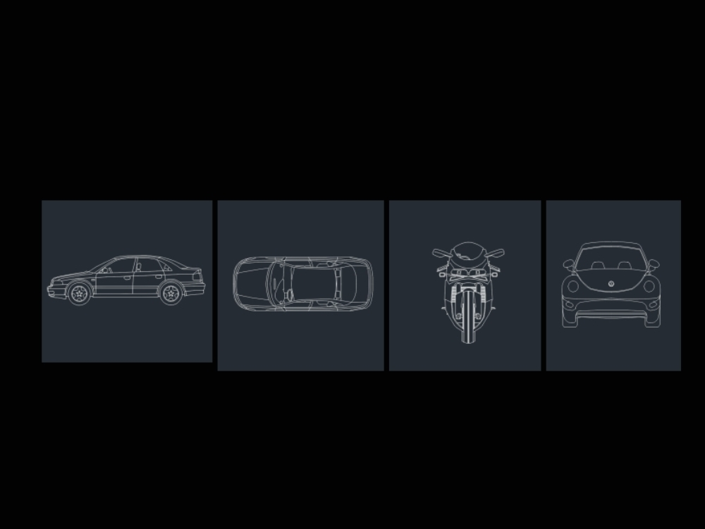Vehicles in two-dimensional dwg format
