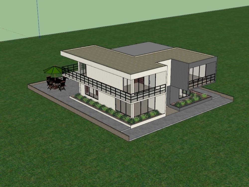 Plano 3d de vivienda unifamiliar