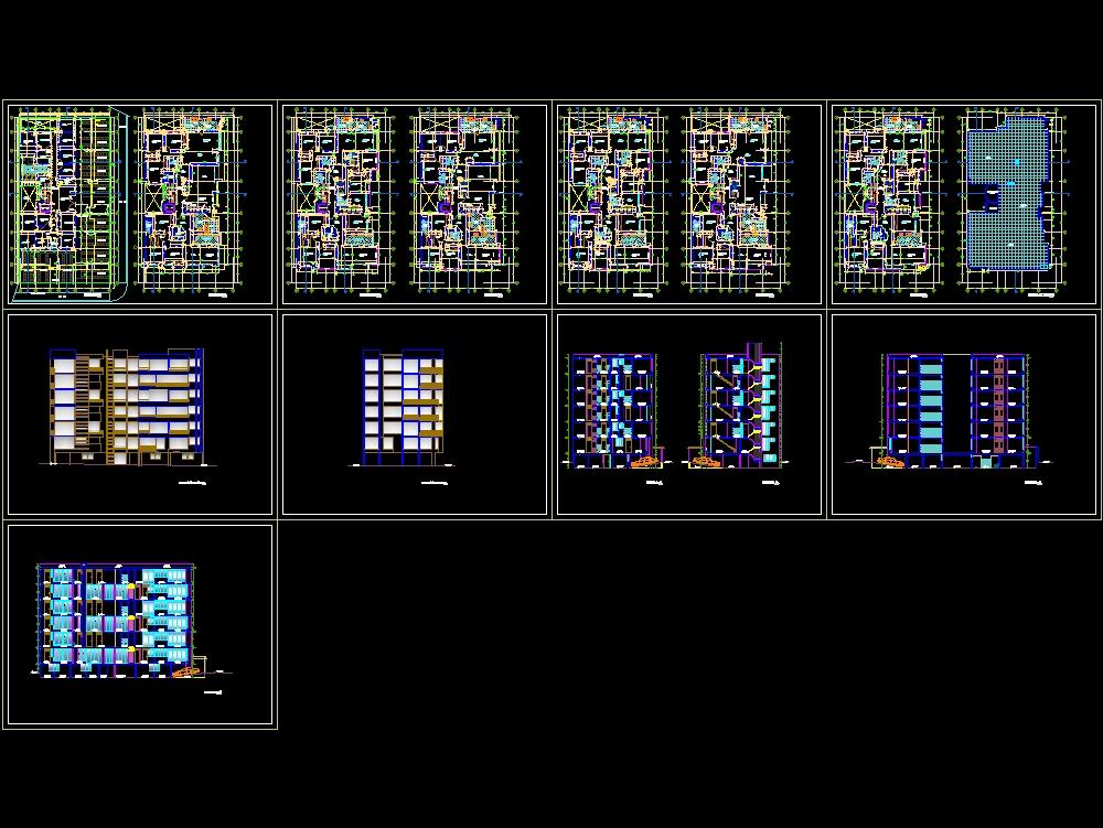 Plano edificio de 6 plantas con distintas vistas