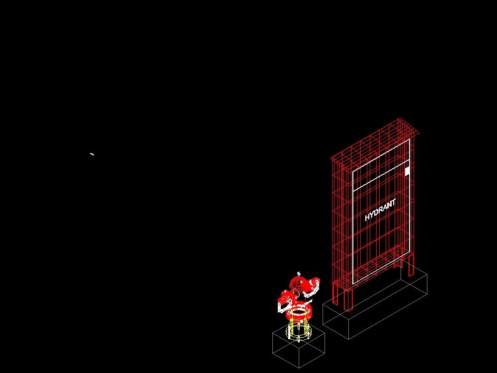 Pilar hidrante - caja hidrante 3d dwg cad