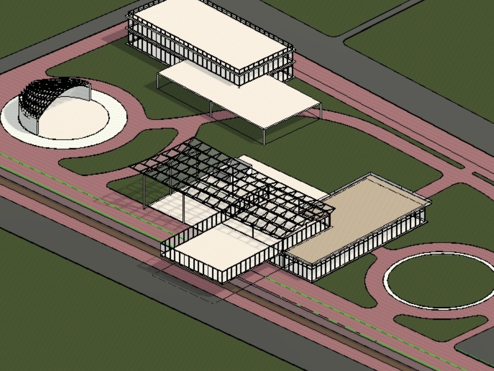 Skate park and site concept in revit