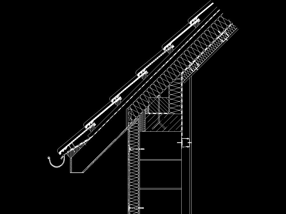 Dibujo y detalles de techo y canaleta