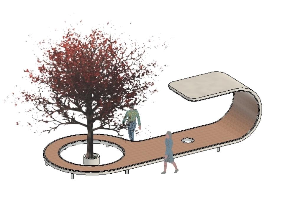 Muebles urbanos en 3 dimensiones revit