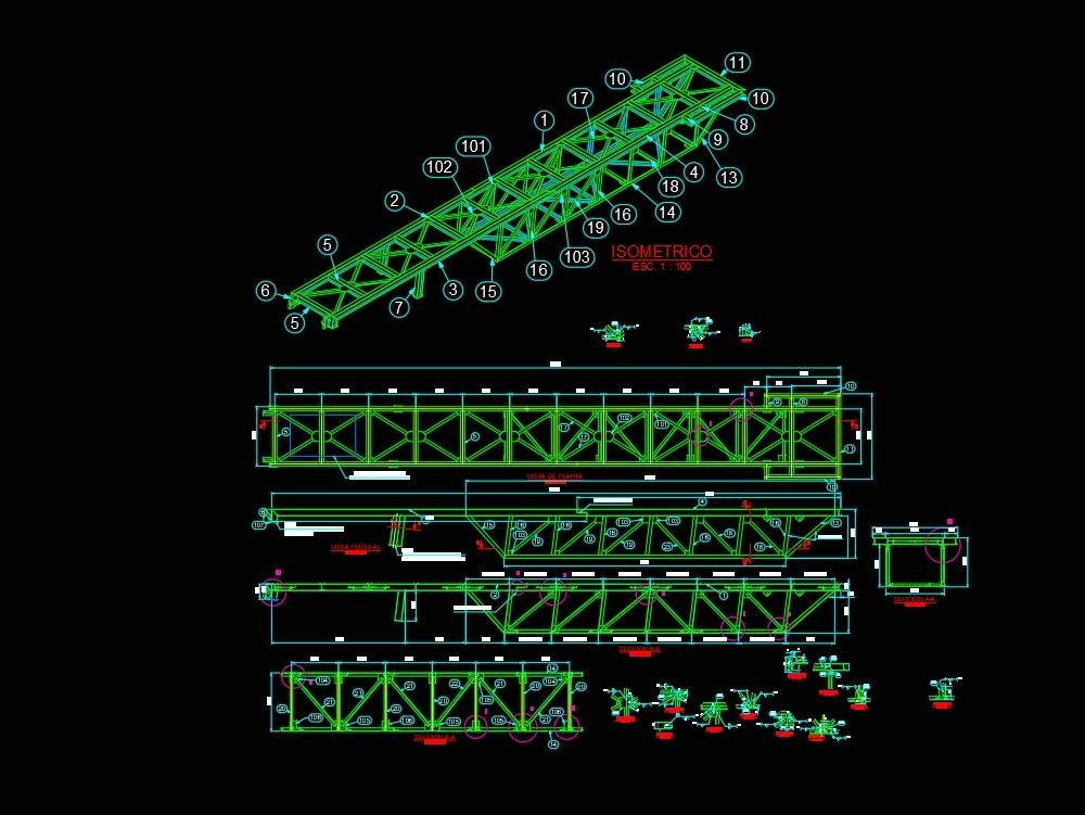 Estructura metalica de pasarela de acceso 2