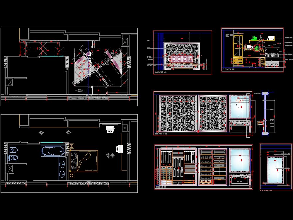 Diseño interior dormitorio con baño en suite