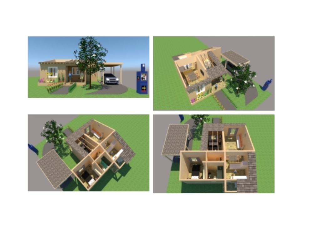 3d project new house furnished skp