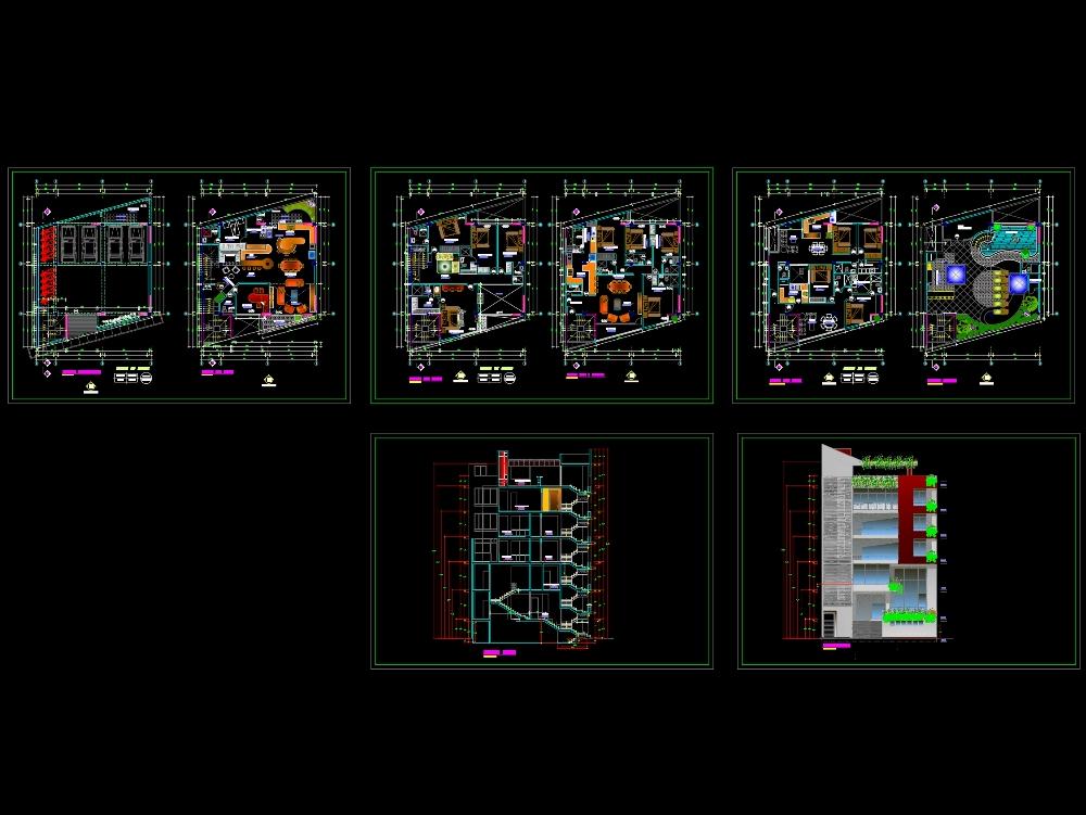 Edificio de departamentos y terraza