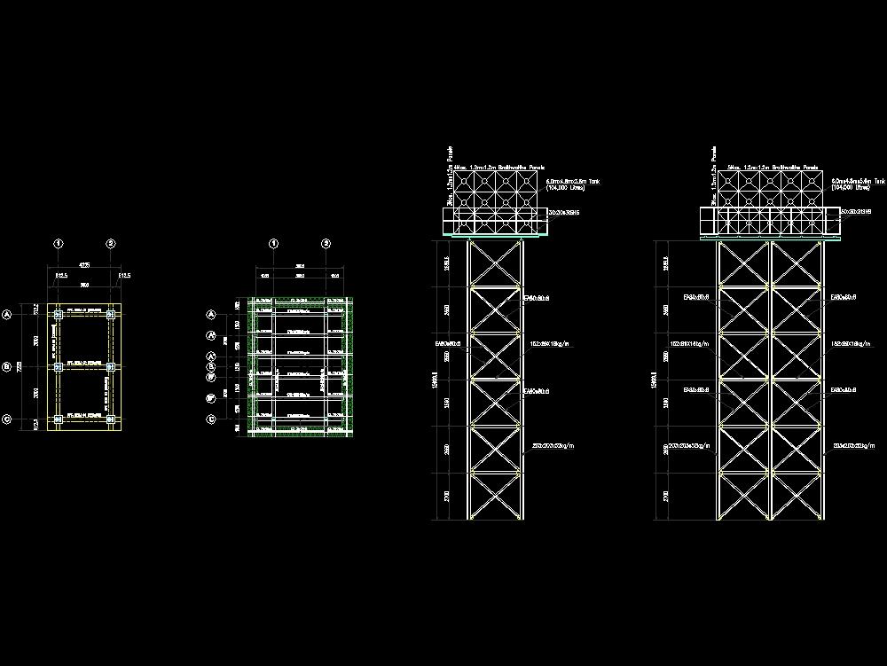 Tanque de acero elevado arquitectónico