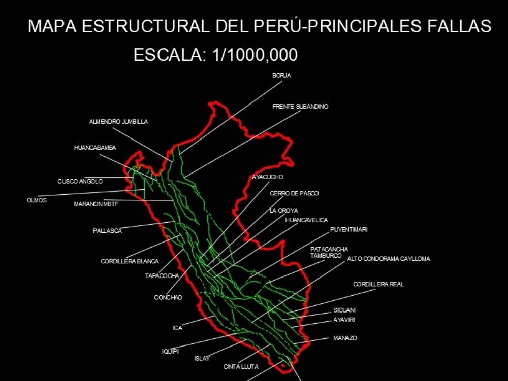 Mapa del peru con sus fallas geologicas