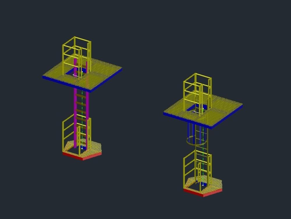 Plataforma con escaleras verticales