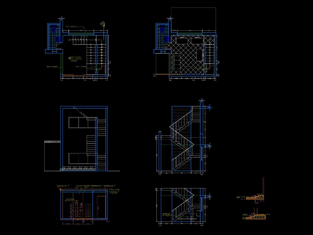 Proyeccion oficina de turismo ; detalles de escalera y oficina