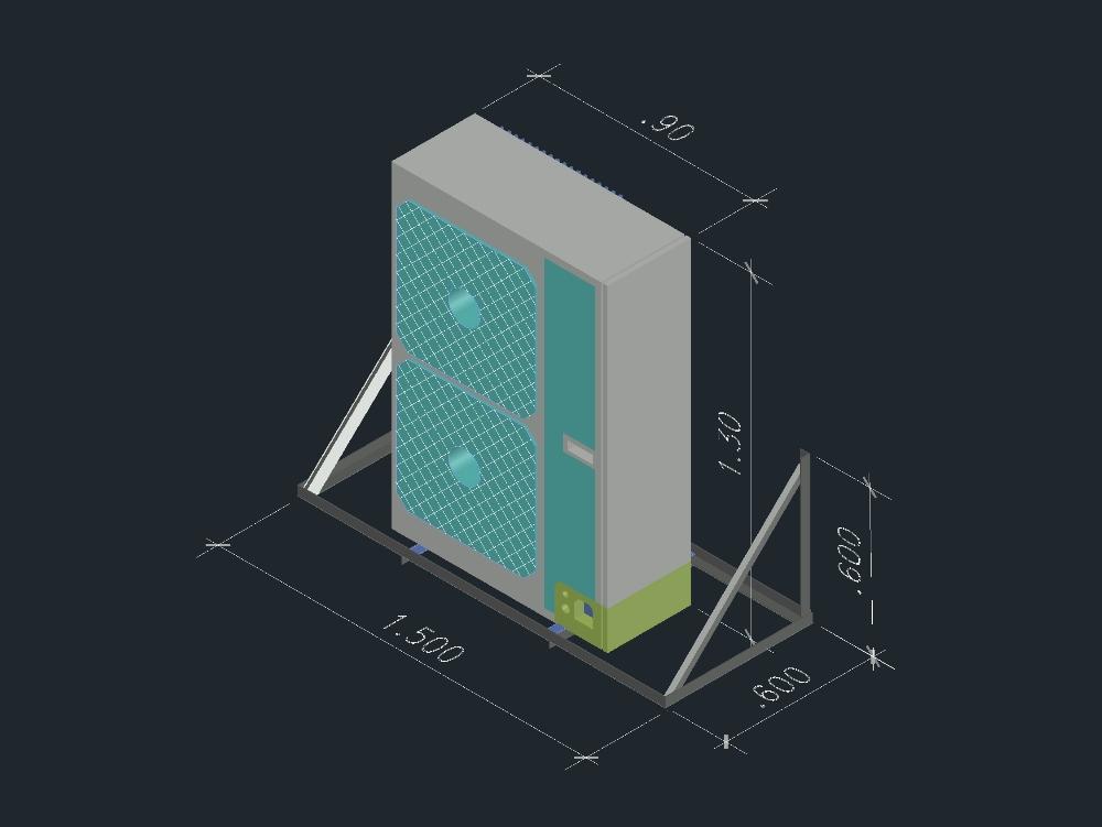 Unidad condensadora y plataforma en 3d