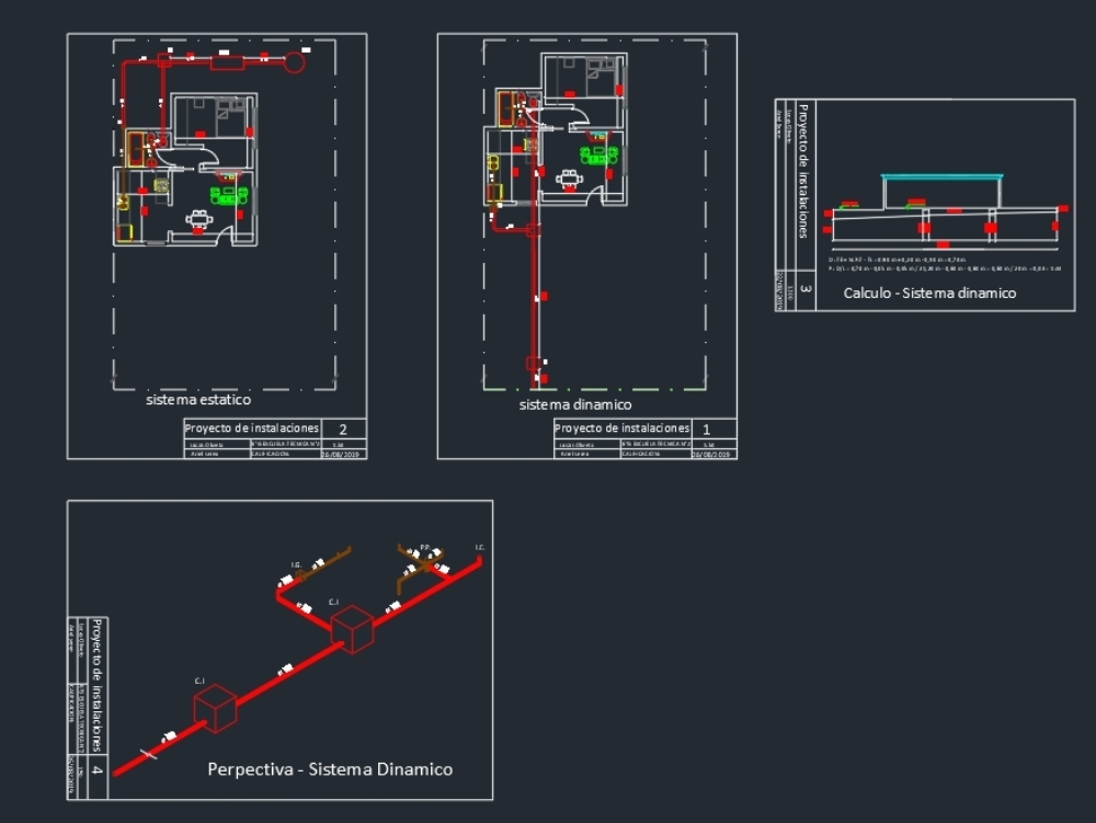 Sewer installation with calculation and perspective