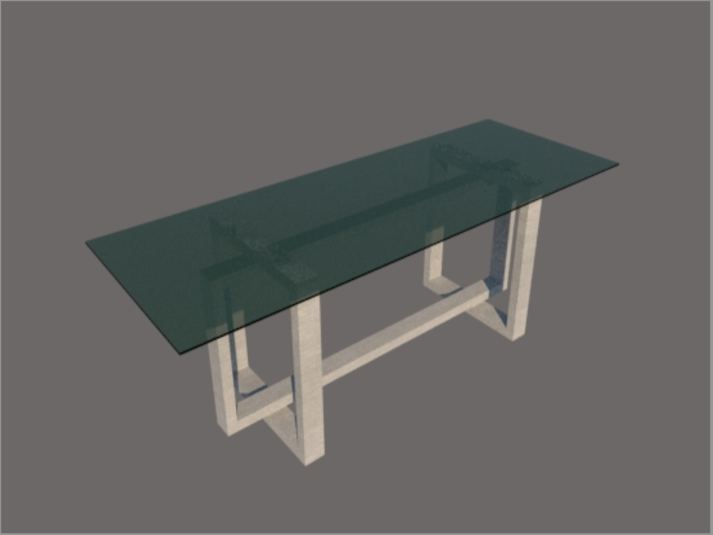 Glass table with metal structure