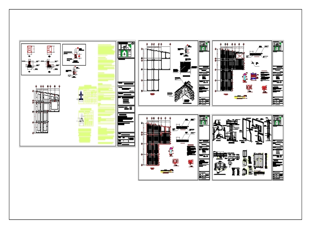 Plan of foundations and interfloor slabs multifunctional building with 3 levels