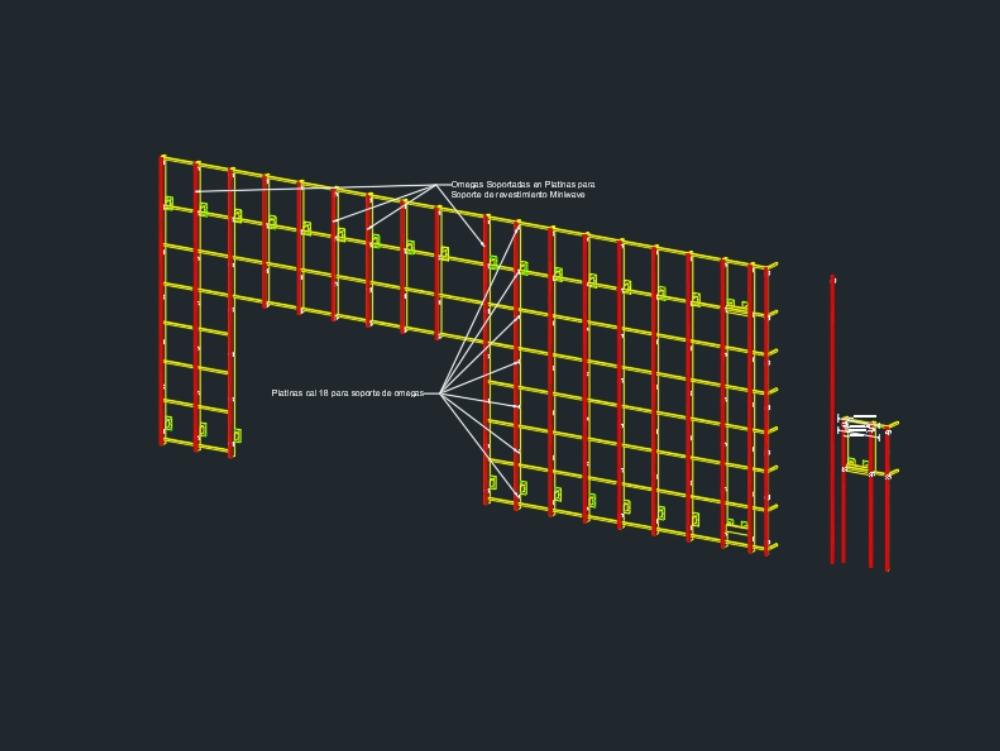 Solucion de platina y omegas para nivelacion de fachada metálica