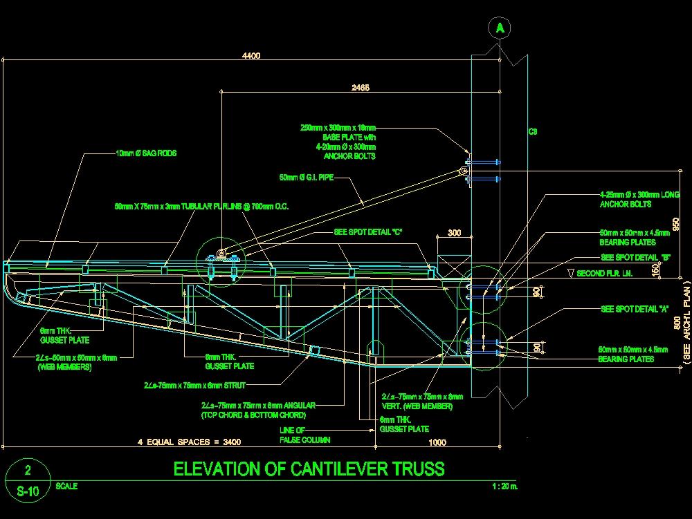 Four meter cantilever roof full design