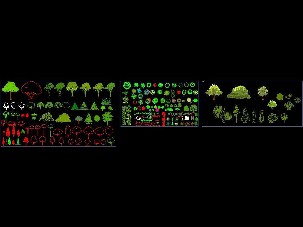 Siluetas y plantillas de plantas y arboles