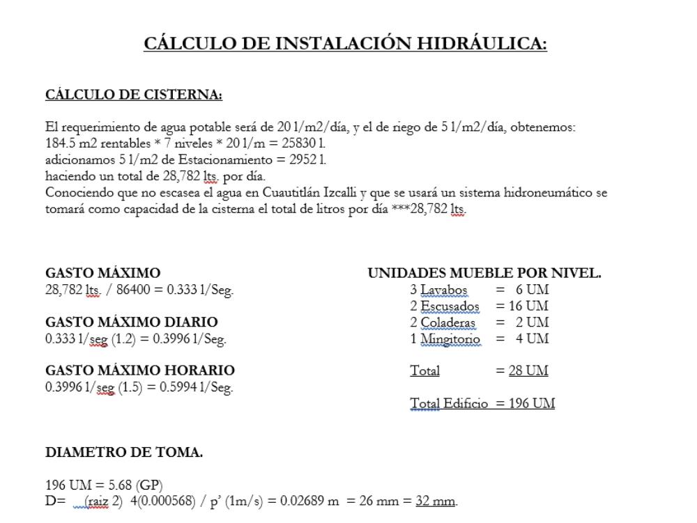 Memoria de cálculo hidráulica