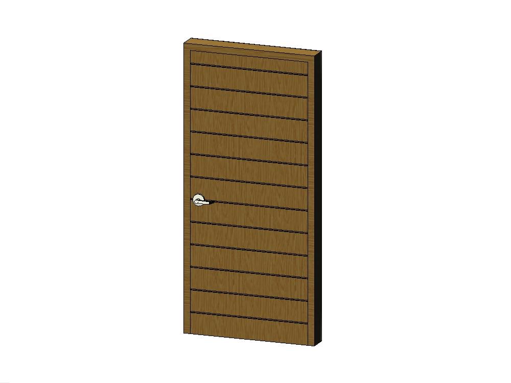 Wooden door with metallic finishes