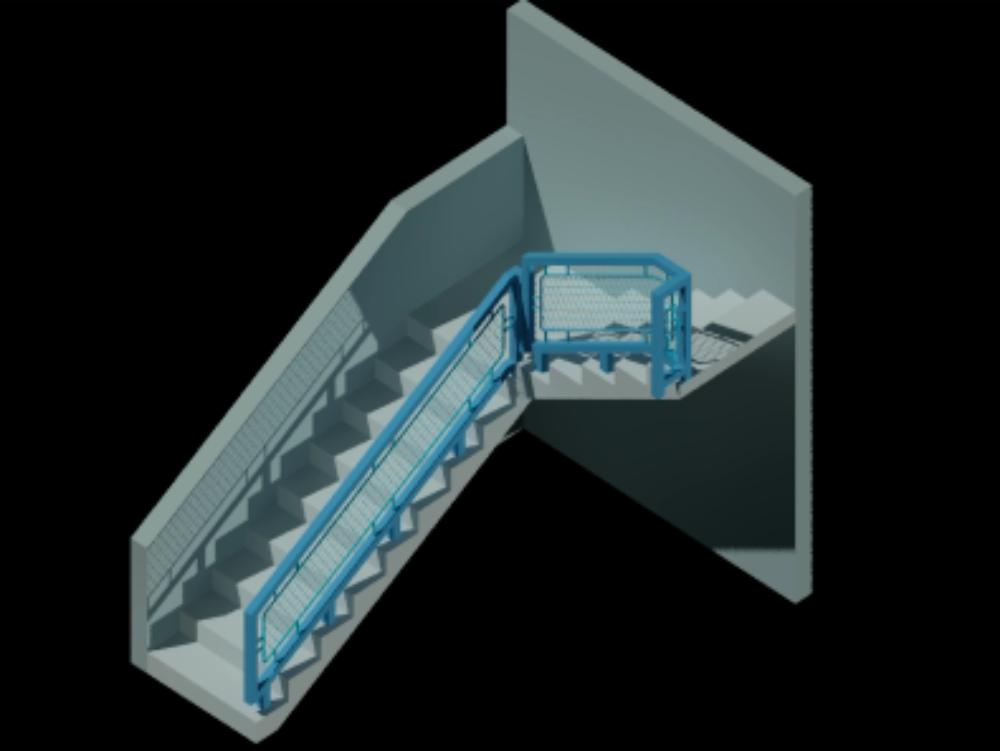 Escalera y barandal 3d
