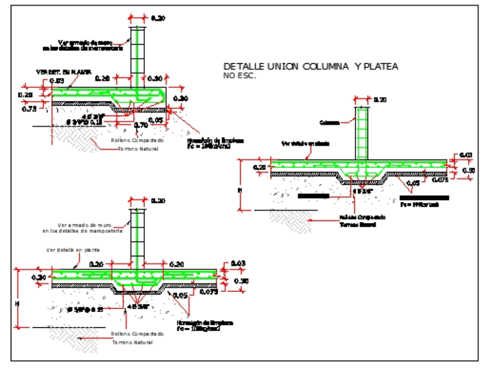 Wall and column details in a foundation slab