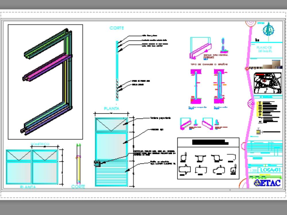 Detalle de ventana en perfiles de acero