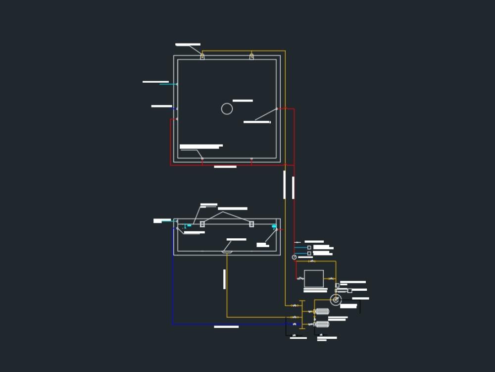 Plano de cuarto de máquinas de una piscina