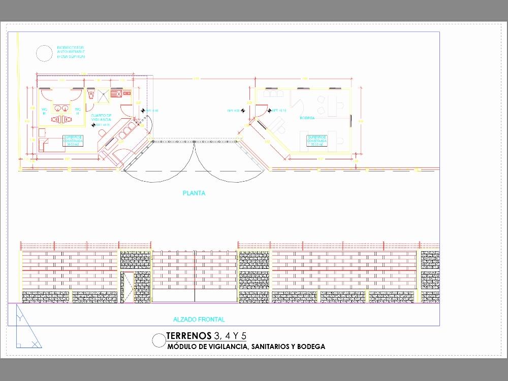 Surveillance module with bathroom