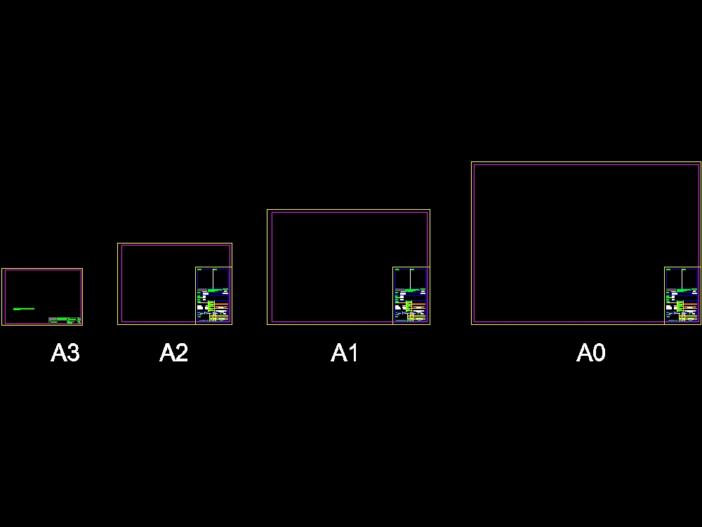 Boards (a3; a2; a1 and a0) for dwg drawings