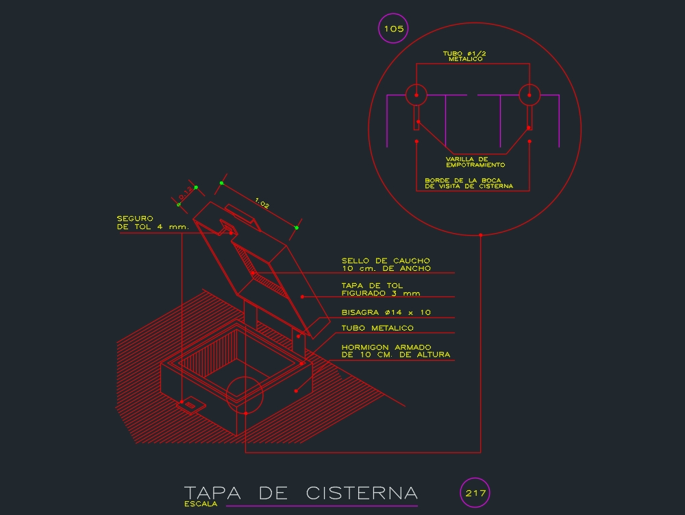 Isometric of a cistern cover.