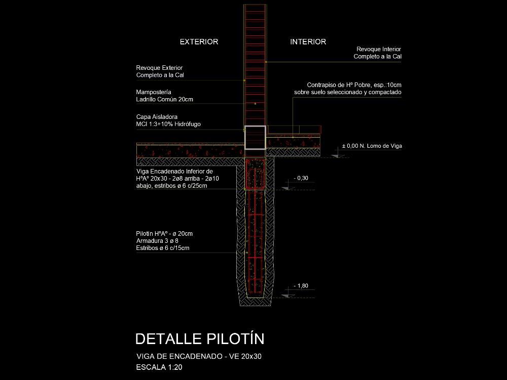 Pilotin detail with reinforced concrete