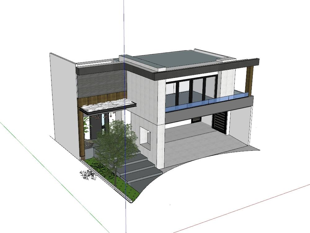 Diseño de fachada de vivienda modelado 3d