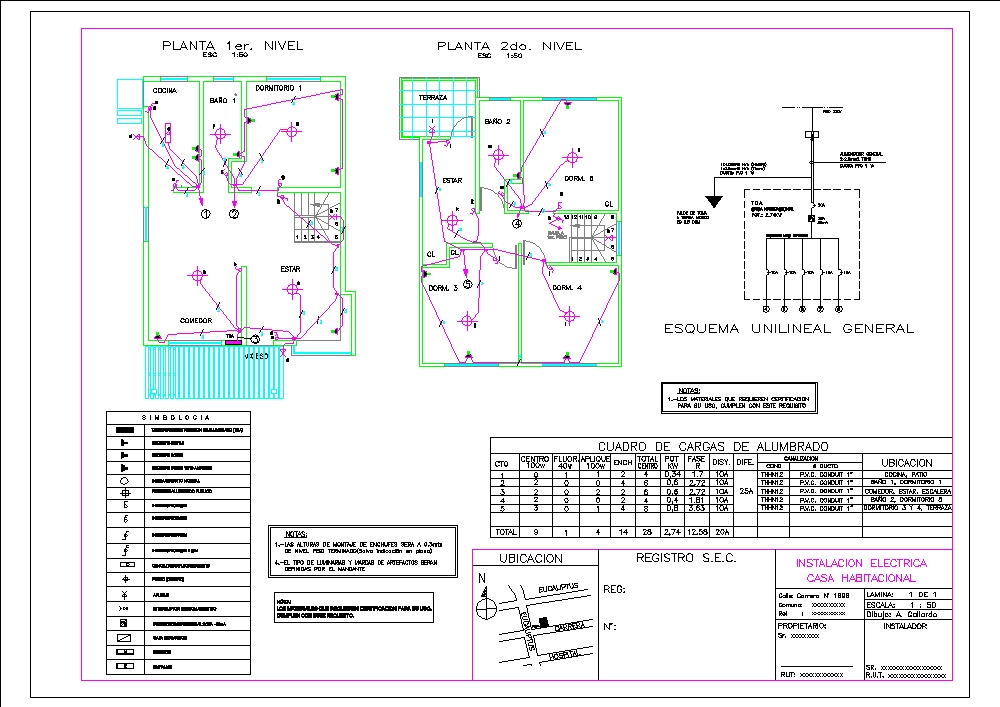 Electrical plan of a family home
