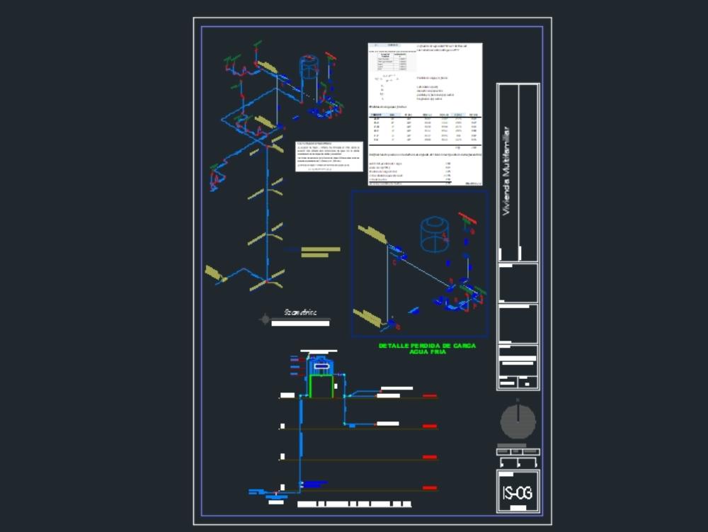 Isometrico de instalaciones sanitarias y calculo de perdida de carga