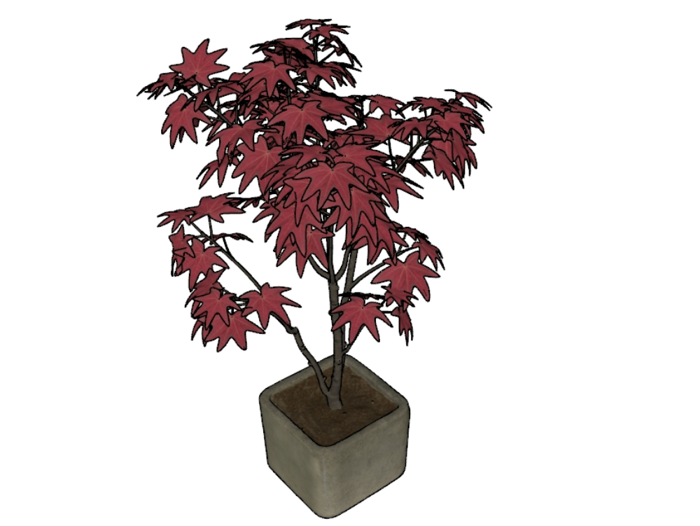 Plant with pot for red sketchup