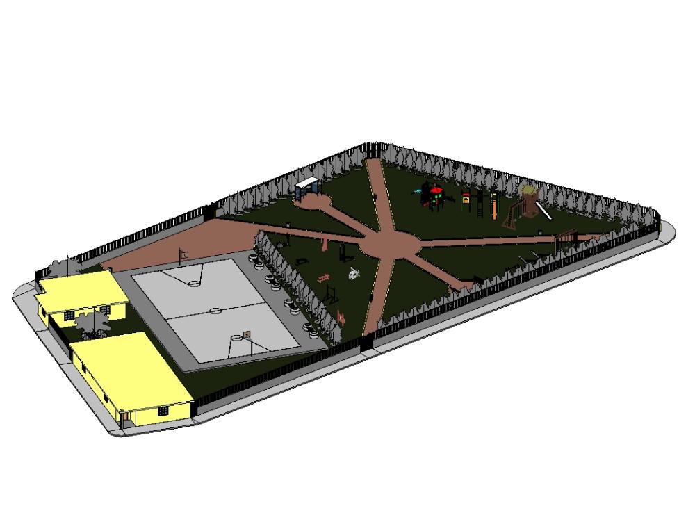 Parque infantil con gimnasio y juegos