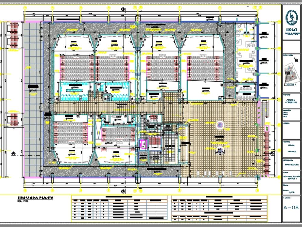 Planos arquitectónicos de cine y fast food