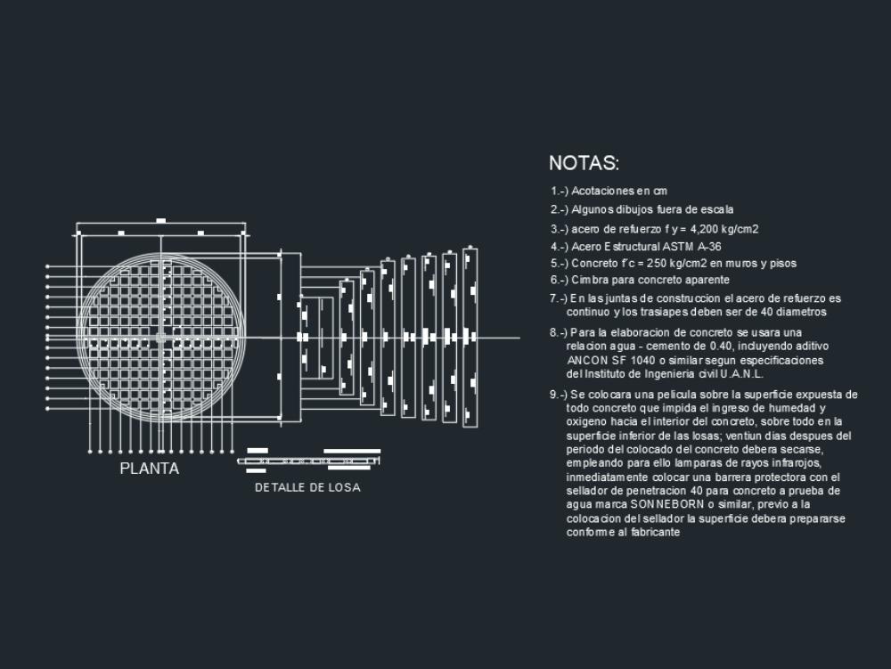 Detailed plan of a circular lattice slab