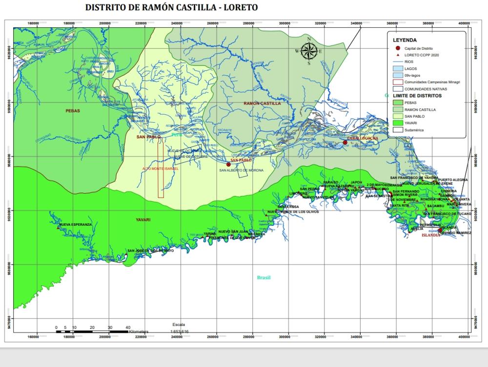 Mapa del distrito de yavari provincia mariscal ramon castilla - loreto perú