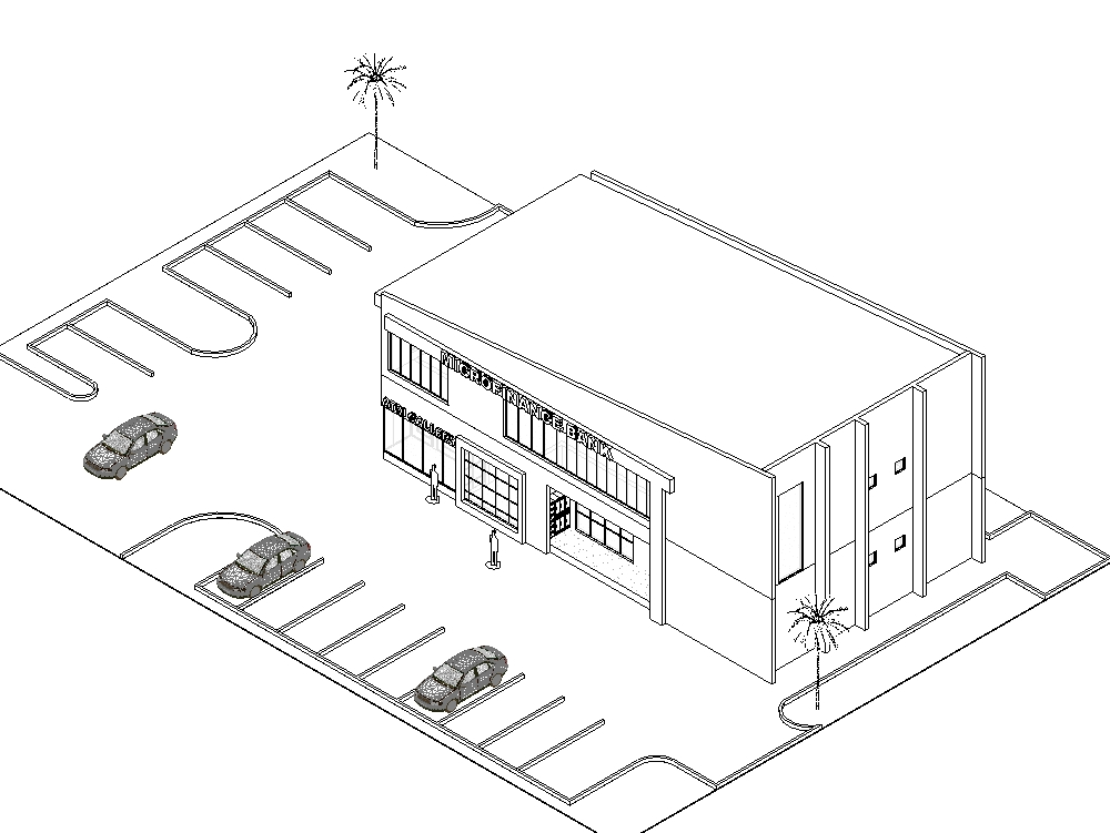 Diseño 3d de un banco comunitario.