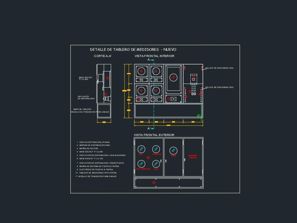 Meter board with main circuit breaker