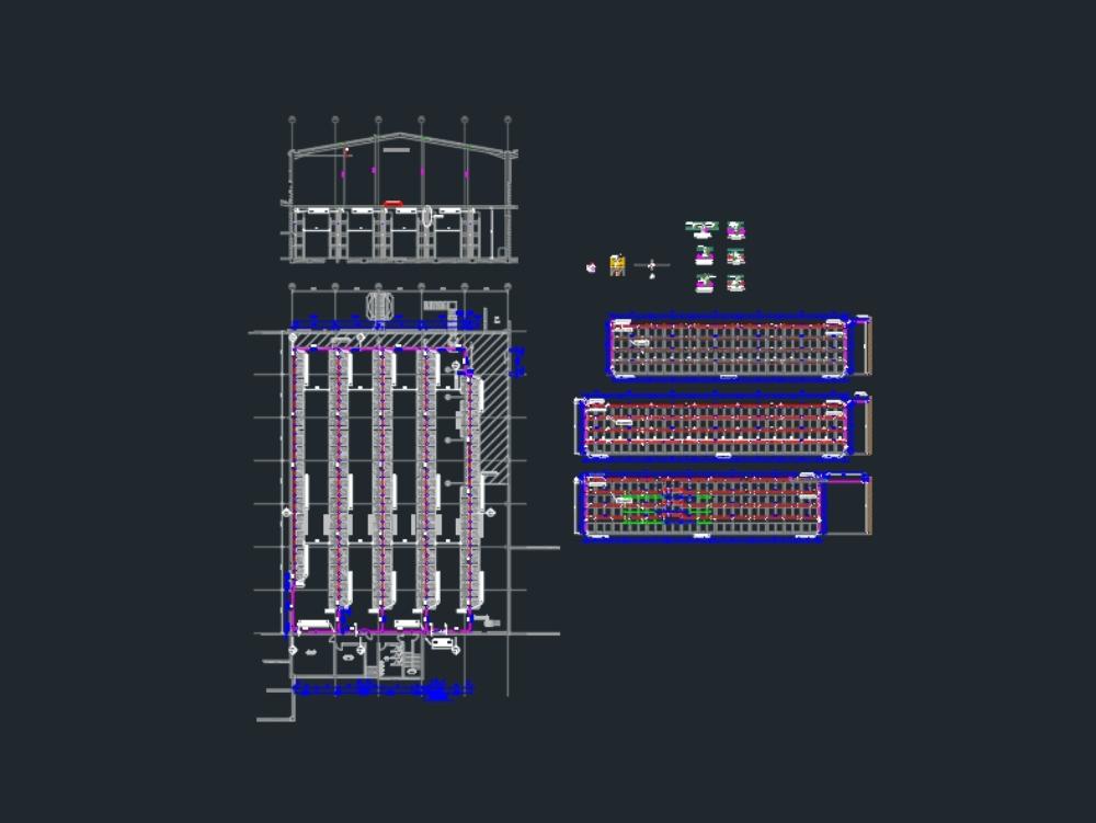 Intermediate storage rack fire protection system