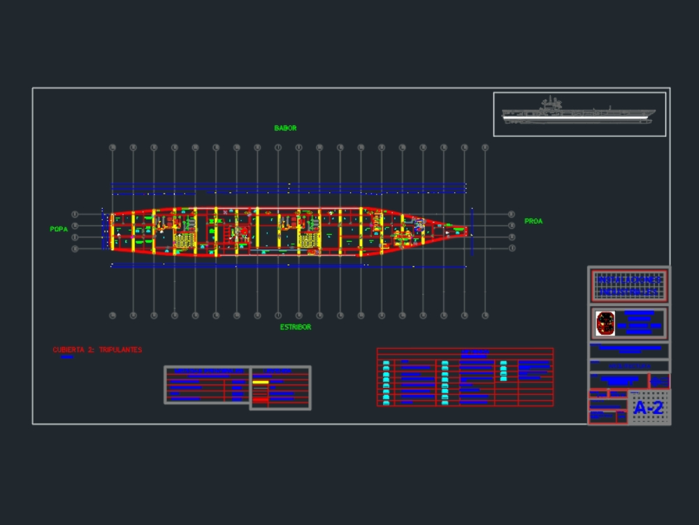 Plano de distribución de un portaaviones tipo catobar