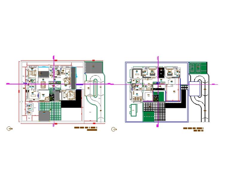 Planos de piso de residencia completos con detalles completos