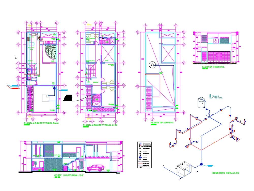 Hydraulic plan house 2 floors