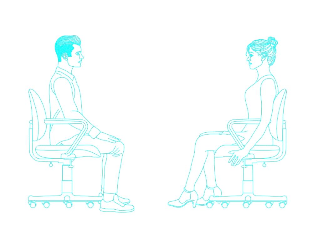 Human figures sitting in profile